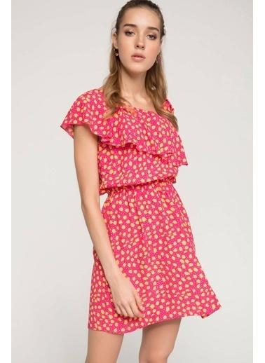 DeFacto Fırfır Detaylı Tek Kol Desenli Elbise Pembe